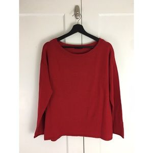 Eileen Fisher Red Merino Wool Sweater Sz L